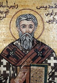 Ein Mosaik Kunstwerk in der  St George Kirche von Madaba auf der Koenigsstraase im Zentrum von Jordanien