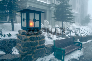 Beautiful street of american town village in mountains in winter