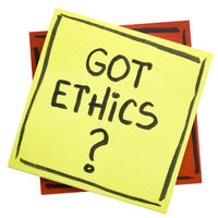 Got ethics?  A question on sticky note.