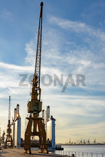 Harbour cranes and equipments at sunset