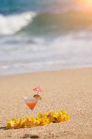 Tropical Drink on Beach Shoreline