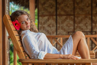 Woman relaxing at resort