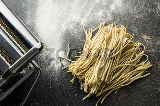 Italian pasta tagliolini with truffles.