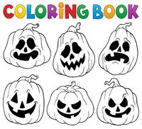 Coloring book with Halloween pumpkins 1 - picture illustration.