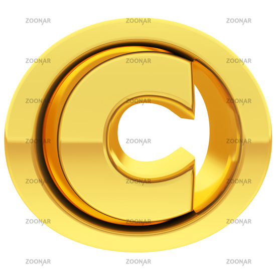 Gold copyright sign with gradient reflections isolated on white. High resolution 3D image
