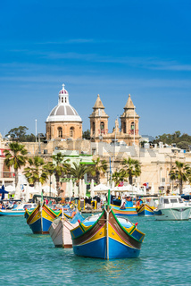 Traditional fisherman village and boats,Malta