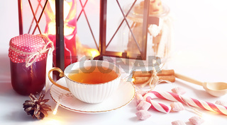 Tea with pastries for breakfast. Sweets and pastries with nuts f