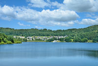 Village of Sondern at Biggesee Reservoir,Sauerland,North Rhine westphalia,Germany