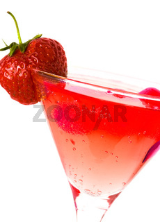 strawberry with glass of juice isolated