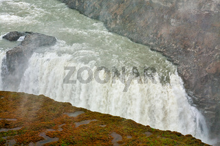 Closeup of Gullfoss waterfall in a cloudy day