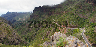 Narrow road thru Masca Canyon