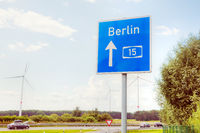 Traffic sign with direction to Berlin