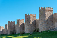 The city wall of Avila in Spain on a sunny day