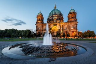 Berlin Cathedral (Berliner Dom) and Fountain Illuminated in the Evening, Germany