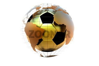 3d golen soccer ball with continents