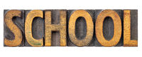school word abstract in wood type
