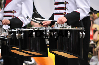 Drummers Playing Tenor (Quad Toms) Drums in Parade