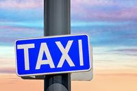 Blue taxi rank sign