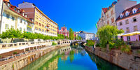 City of Ljubljana historic riverfont view