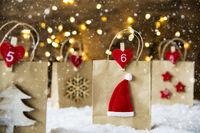 Christmas Shopping Bag, Santa Hat, Snowflakes