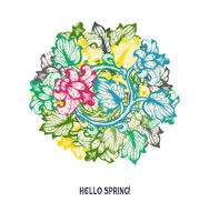 Hand Drawn Floral Vector Spring Design