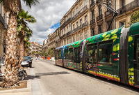 Famous colorful tram in Montpellier.
