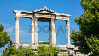 view of Arch of Hadrian in Athens city