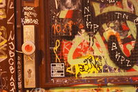 Old Door with Graffiti  at Dusk in Ostertor-Quarter, Bremen, Germany, europe