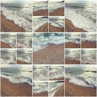 Waves Of Ocean On Sandy Beach. Background. Selective focus. Collage of many photos colorized instagram style