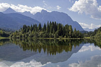 Isar reservoir and Karwendel mountains