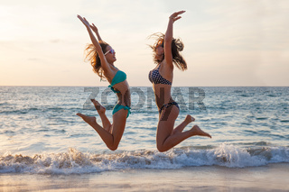 Happy young people on beach