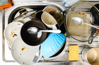 Dirty dishes in a sink