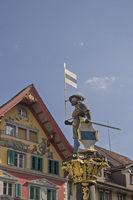 Kolin fountain in Zug at the lake