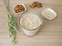 Homemade low carb protein shake with almond flour and rolled oats