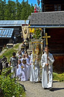 Corpus Christi procession, Blatten, Lötschental, Valais, Switzerland