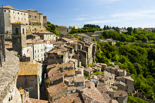Sorano, Ansicht mit Festung, Stadt des Mittelalters, Toskana, Italien