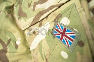 Union Jack / Union flag badge on a British army camouflage uniform