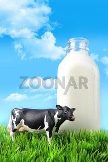 Milk bottle in the grass