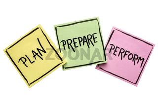 plan, prepare, perform note set