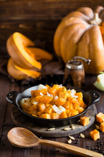 roasted pumpkin and onion, vegetable garnish