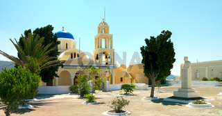 Square and traditional greek church in the Santorini island