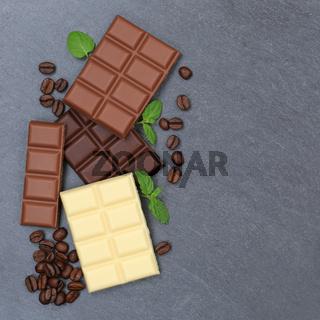 Schokolade Tafel Schiefertafel Süßigkeiten Essen quadratisch Textfreiraum von oben