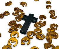 christliches kreuz und eurosymbole - 3d illustration