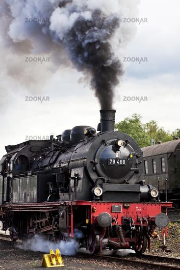 smoking steam locomotive, Bochum Dahlhausen Railway Museum, Ruhr Area, Germany, Europe