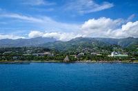 Papeete city view from the sea, Tahiti