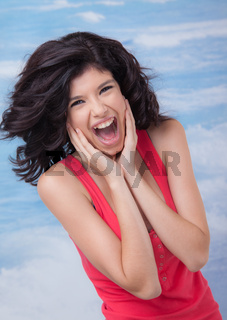 Young Female Screaming Laughing