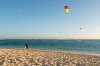 Kitesurfing on the Mauritius beach