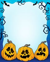 Outlined pumpkins Halloween frame 2 - picture illustration.