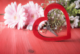 Decorative red heart and chrysanthemum flowers
