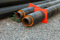 Set of big water pipes used at the building site, ready for mounting